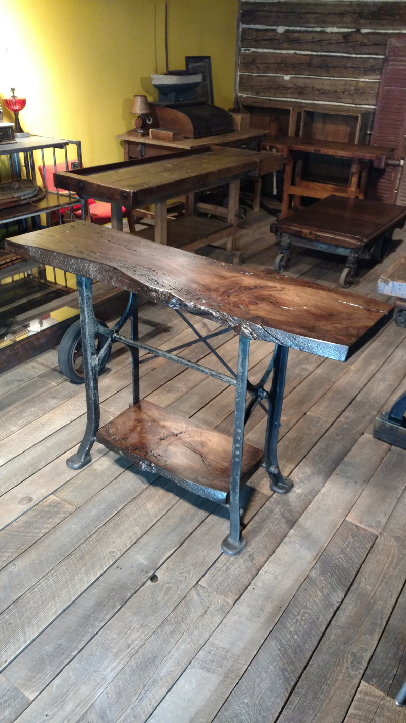 Groovy Antique Industrial Base Live Edge Oak Table Squirreltailoven Fun Painted Chair Ideas Images Squirreltailovenorg